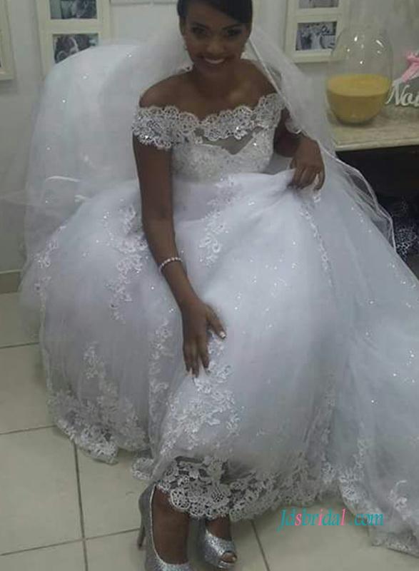 H0976 Grace off shoulder cinderela lace princess wedding dress :