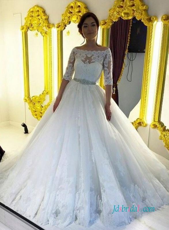 Half Sleeve Bridal Gownsvintage Wedding Dresses With 12 Sleeves