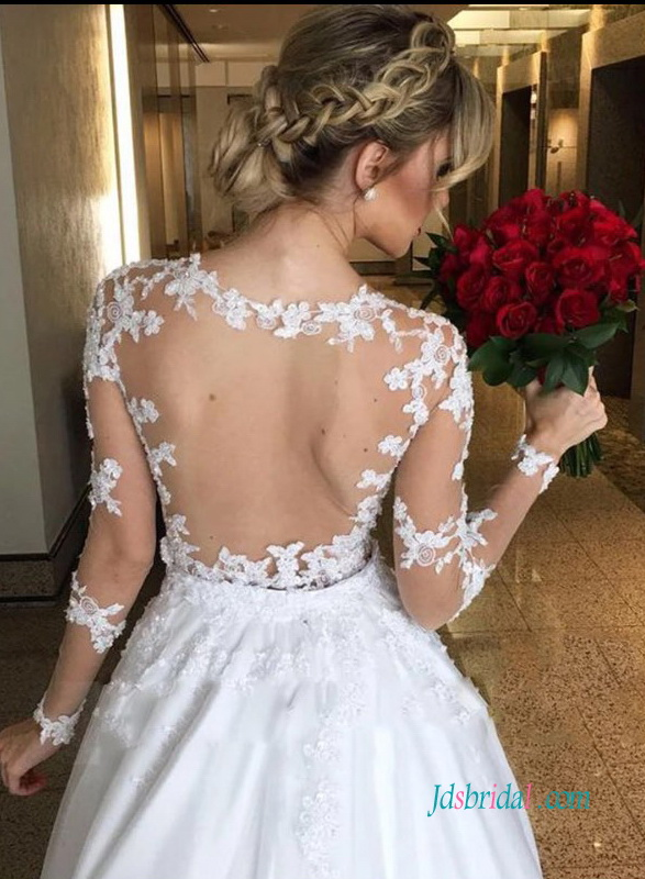 H0978 Sexy sheer lace bodice two pieces ball gown wedding dress
