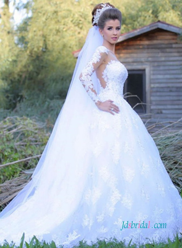 H0981 Sexy sheer back long sleeves lace princess wedding gowns