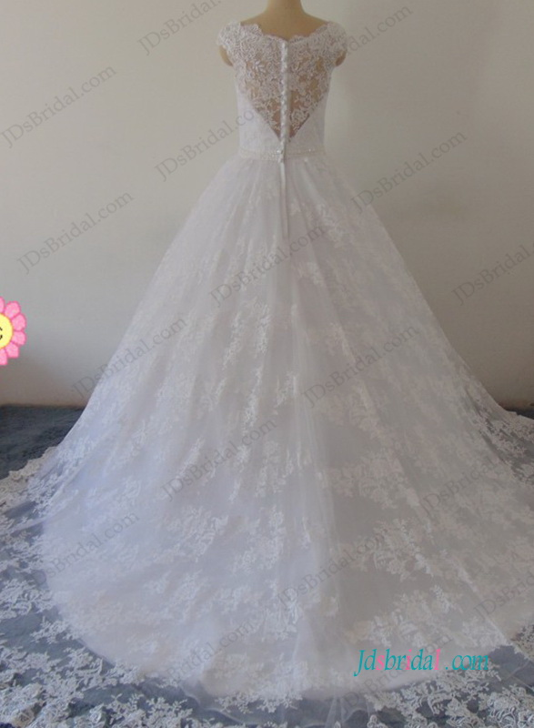 fairytale 2018 lace princess ball gown wedding dress with sheer lace back and bateau neckline