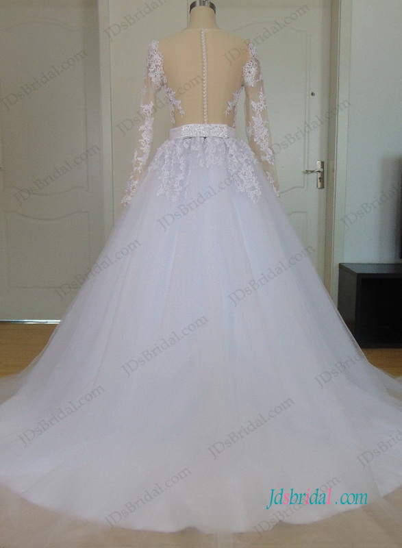H0985 Sexy sheer back puffy tulle ball gown wedding dress