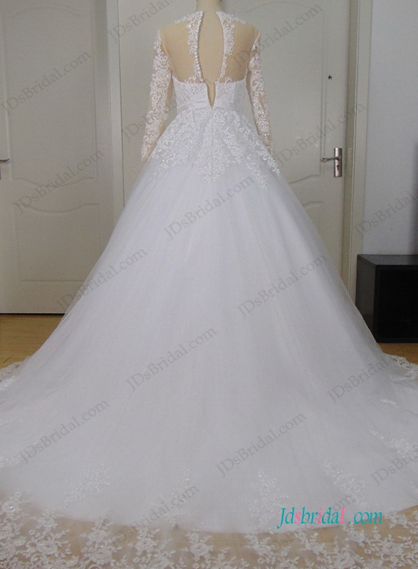 H0986 Illusion lace long sleeves princess tulle wedding dress