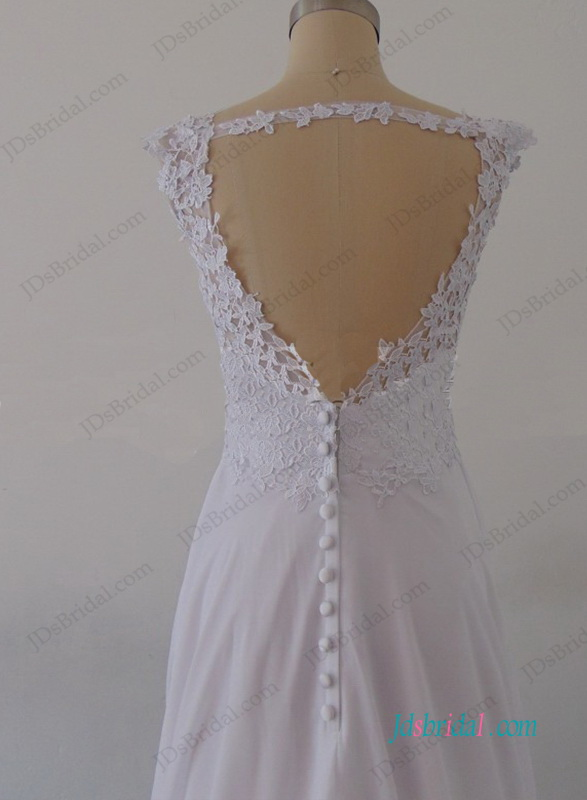H0987 Cheap Simple white chiffon lace open back beach wedding dress