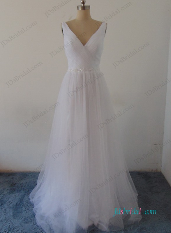 H0988 Simple soft airy destination boho beach wedding dress