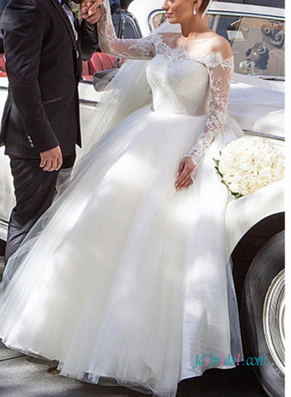 H0989 Sexy sheer off shoulder long sleeved ball gown wedding dress
