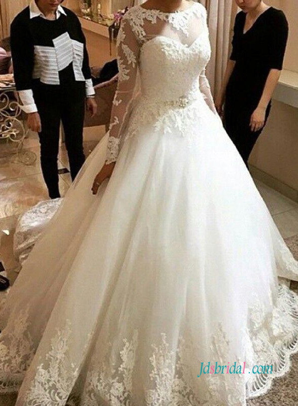 H0991 Modest illusion tulle top princess ball gown wedding dress