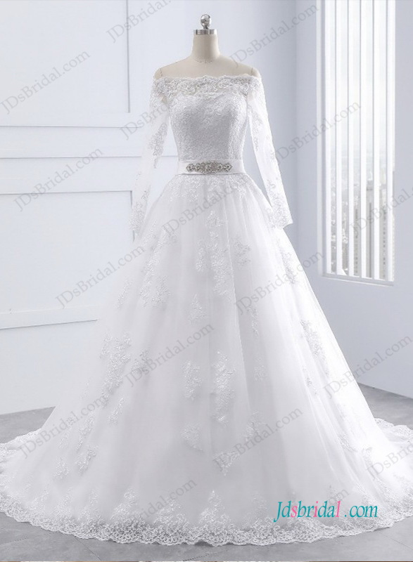 H0992 Off the shoulder long sleeves princess wedding dress