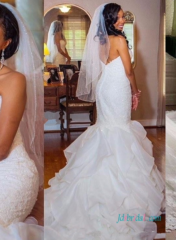 H0996 Hot sweetheart lace mermaid bridal wedding dress 2018
