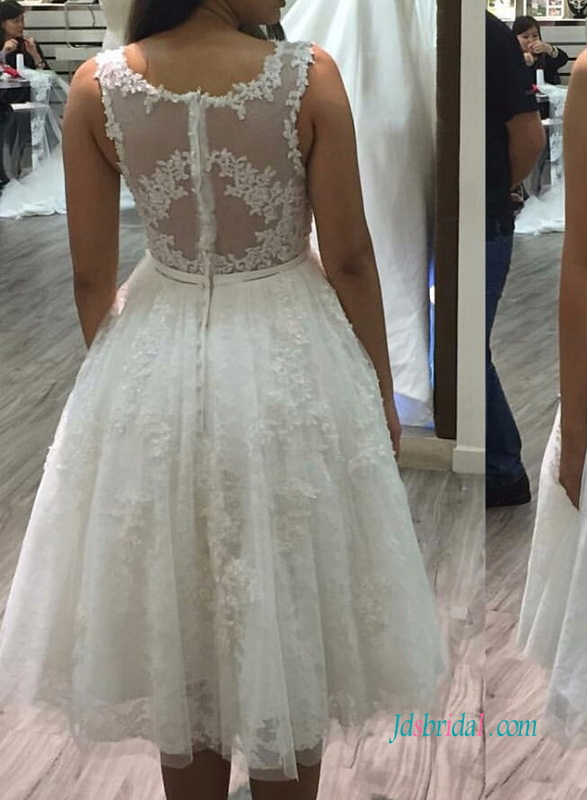 H0997 Lovely beaded lace detailed tea length white wedding dress