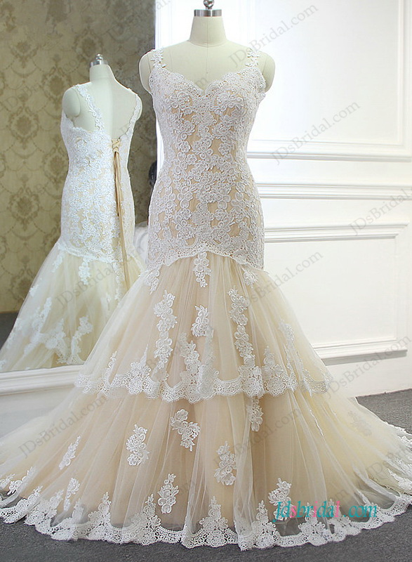 H0998 champagne white lace mermaid bridal wedding gown for Ivory champagne wedding dress
