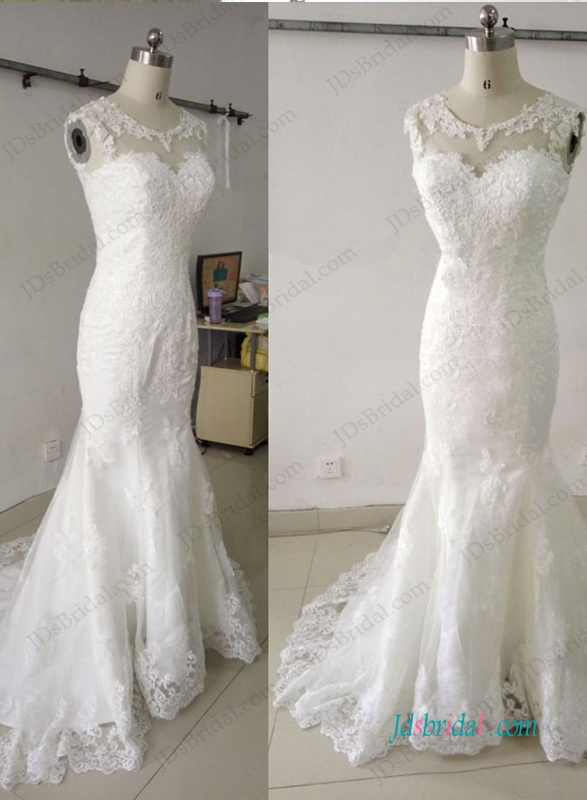 H0999 Beautiful lace scoop neck mermaid wedding dress