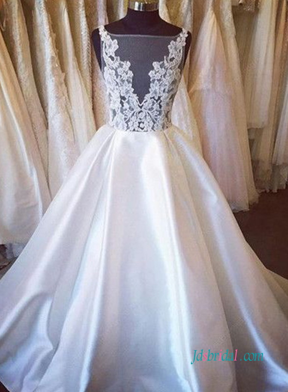 H1000 Sexy sheer lace bodice taffeta ball gown wedding dress