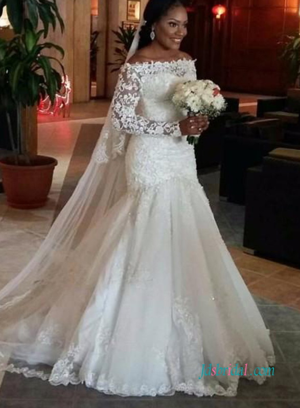 748e28abcaa9 H1001 Romance off the shoulder lace long sleeves mermaid wedding dress