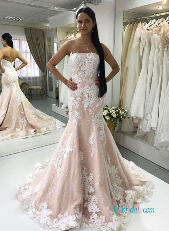 H1005 blush pink with white lace mermaid wedding dress h1005 blush pink with white lace mermaid wedding dress junglespirit Image collections