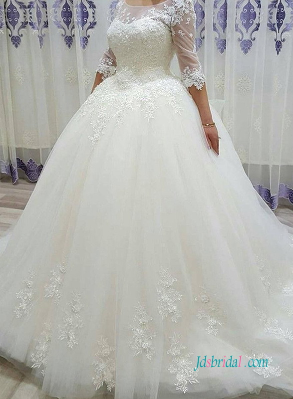 H1008 Modest half length sleeves princess wedding ball gown dress