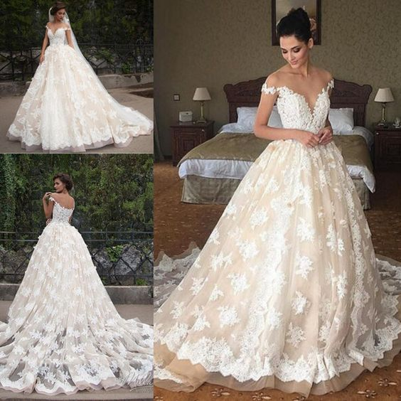 H1009 Sexy Sheer top plunging lace princess wedding dress