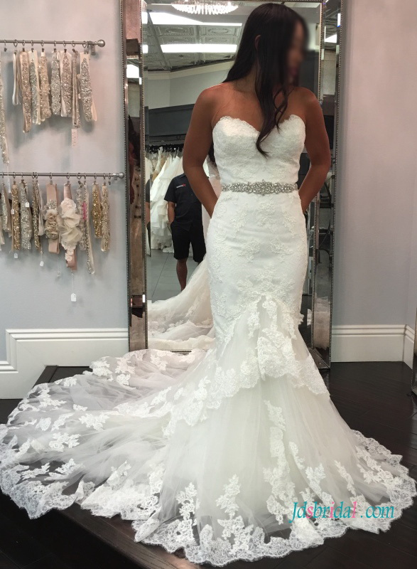 H1010 Sexy illusion lace back mermaid wedding dress 2017