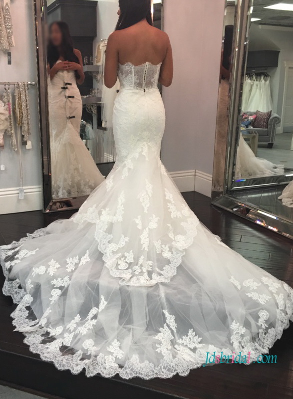sexy 2017 2018 sheer lace back mermaid wedding dress with tiered bottom