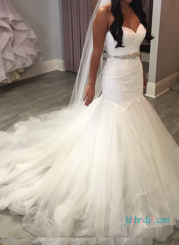 H1011 Fairy sweetheart mermaid tulle wedding dress