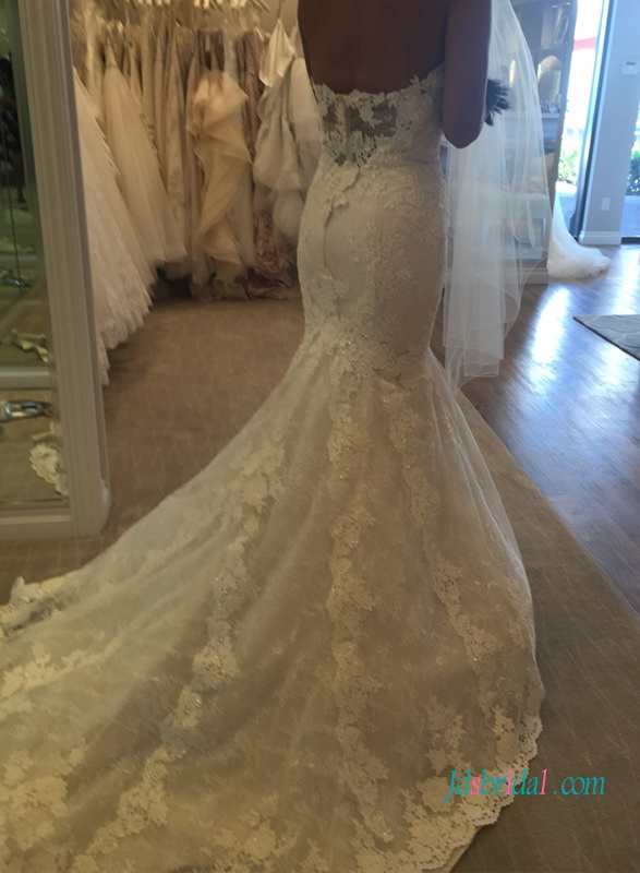 sexy sheer lace back sweetheart neckline mermaid wedding dresses inspired