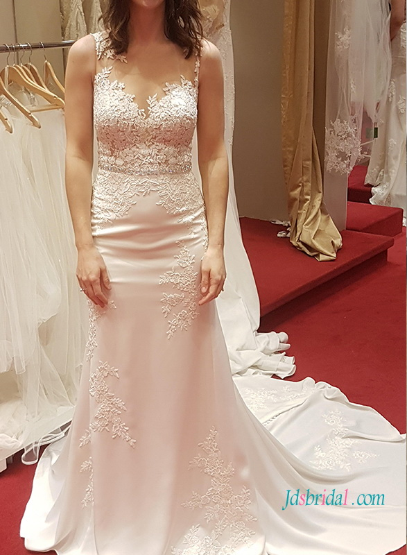 H1016 Sexy sheer lace back soft sheath wedding dress