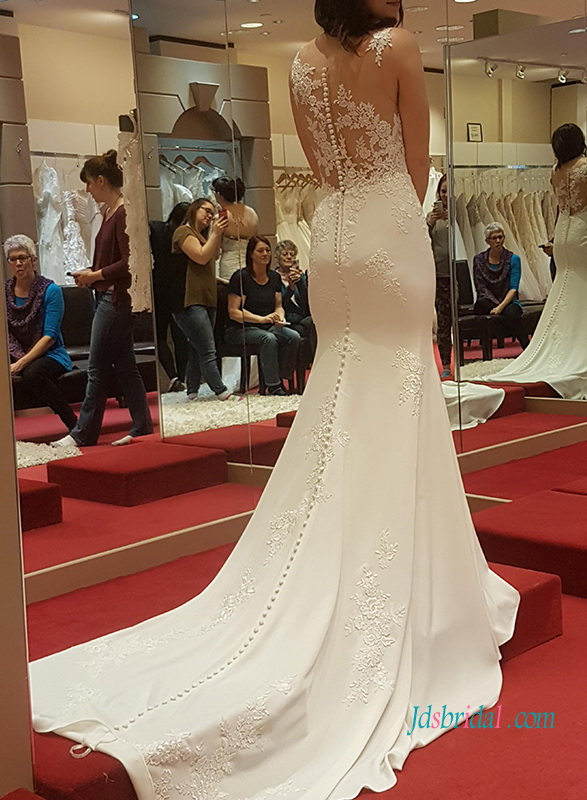 sexy sheer lace back sheath mermaid wedding dress with illusion lace bodice