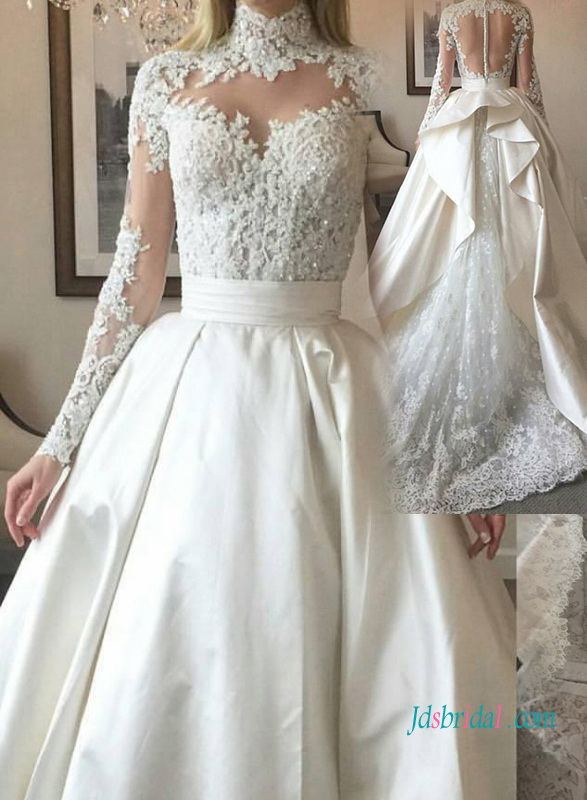 H1017 Sexy sheer back high neck lace ball gown wedding dress