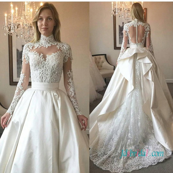 ab8bd0054776 H1017 Sexy sheer back high neck lace ball gown wedding dress :