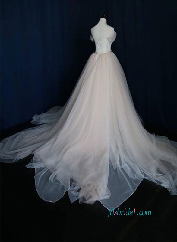 H1019 Champagne colored vintage soft tulle princess ball gown