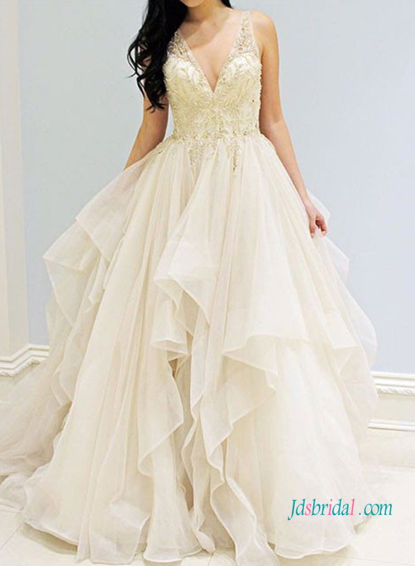 H1020 Romance gold embroidery detailed cascade ball gown
