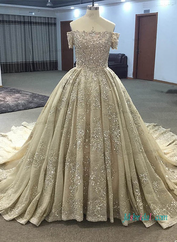 H1021 Gold champagne colored cinderalla ball gown wedding ...