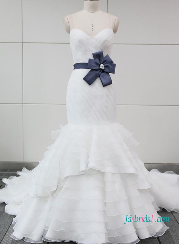 H1023 White organza mermaid tiered wedding bridal dress