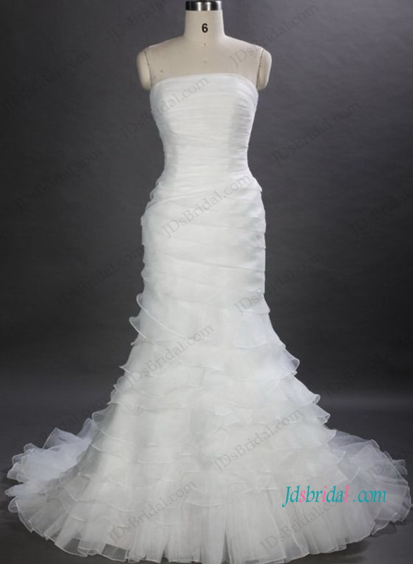 H1028 Uinque strapless tiered organza mermaid wedding dress
