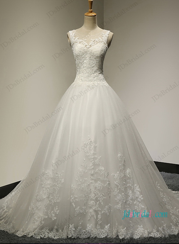 H1029 Beautiful Sheer lace bateau neck princess ball gown
