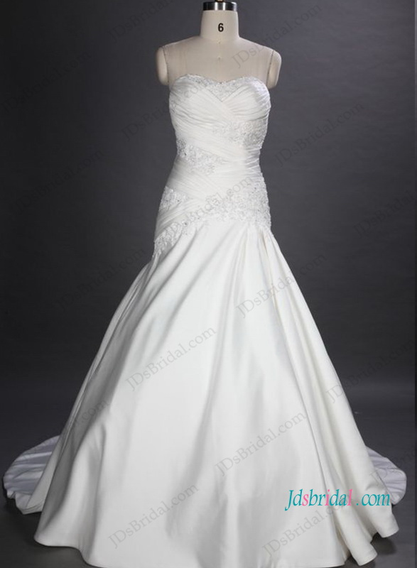 H1030 Sexy sweetheart neck satin trumpet wedding bridal dress