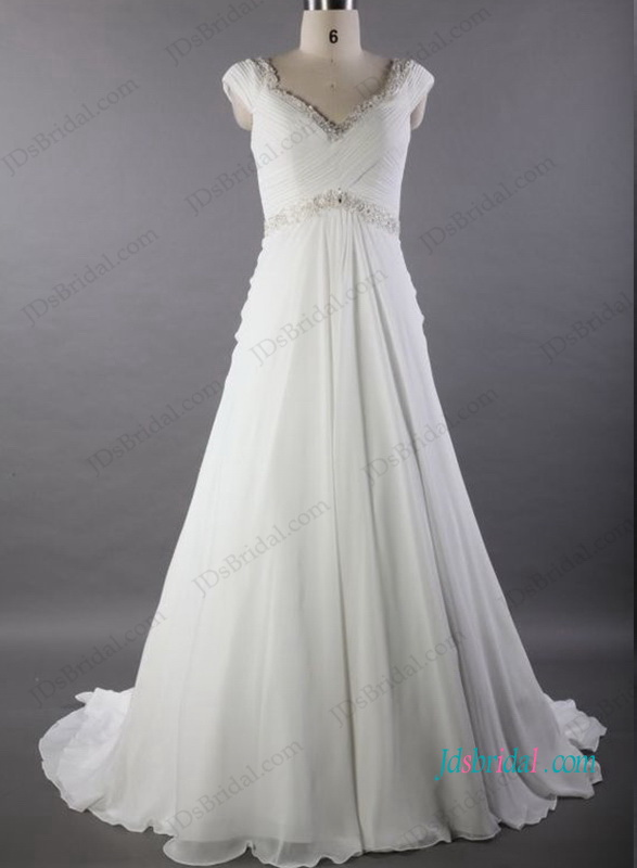 H1031 Casual chiffon a line plus size wedding dresses on sale :