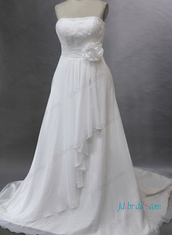 H1032 Strapless destination chiffon bridal wedding dress