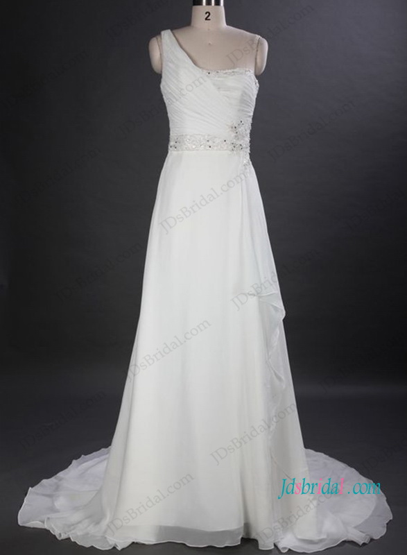 H1036 One Shoulder Chiffon A Line Wedding Bridal Dress