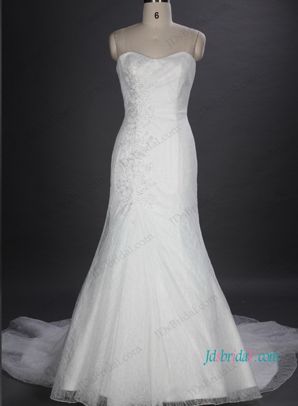 H1039 Soft lace sweetheart mermaid sheath wedding dresses