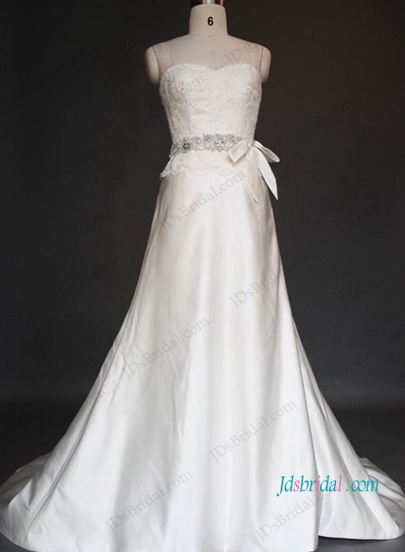 H1041 Cheap Simple slim a line flare satin wedding dresses