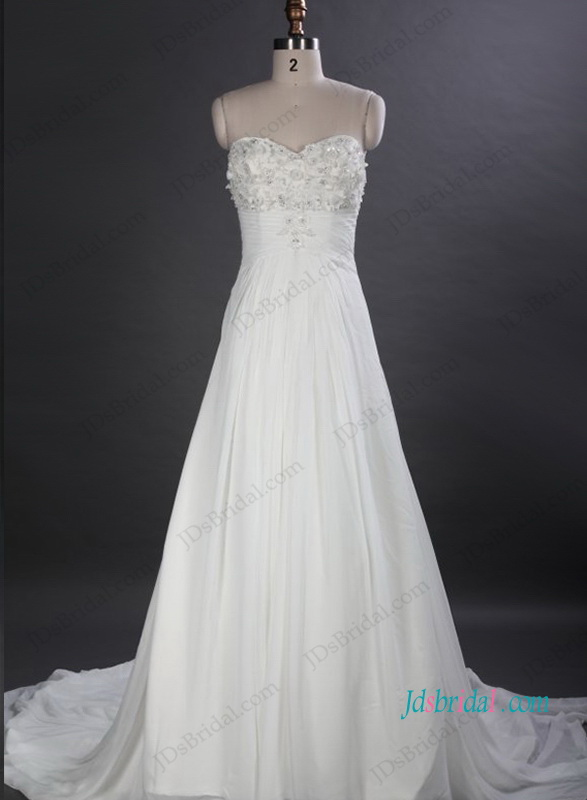 cheap empire a line chiffon destination wedding dress with empire waistline and handmade flowers accents