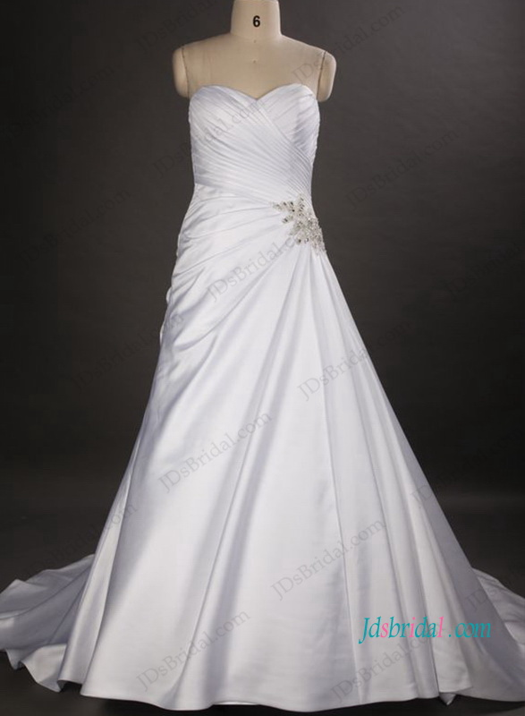 H1045 Simple sweetheart neck satin a line wedding dresses