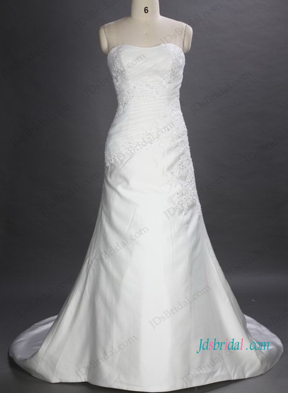 H1047 Simple elgant strapless sheath mermaid wedding dresses