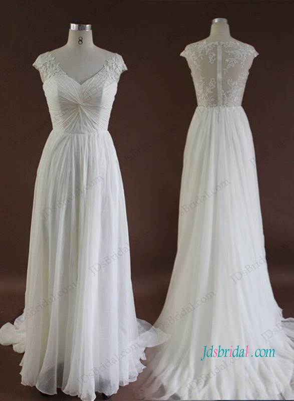 H1049 Romance sheer lace back chiffon destination wedding dress
