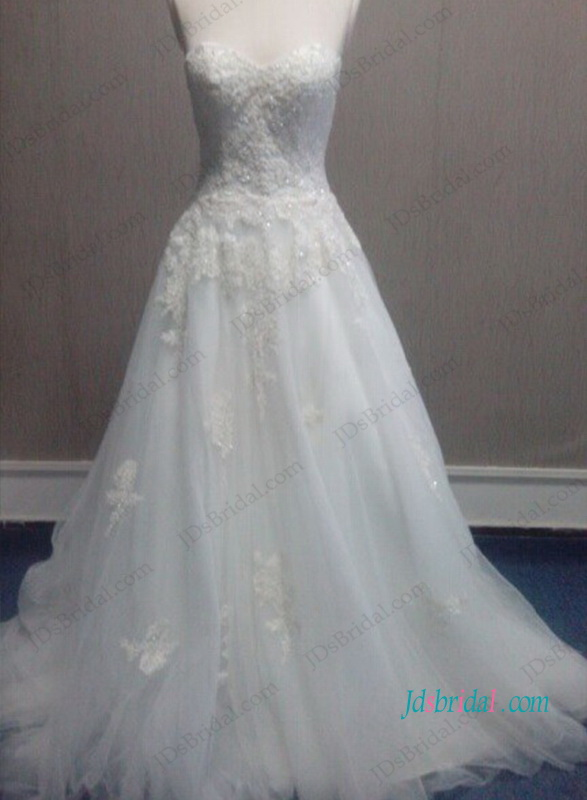 H1050 lace sweetheart neck tulle princess wedding dress