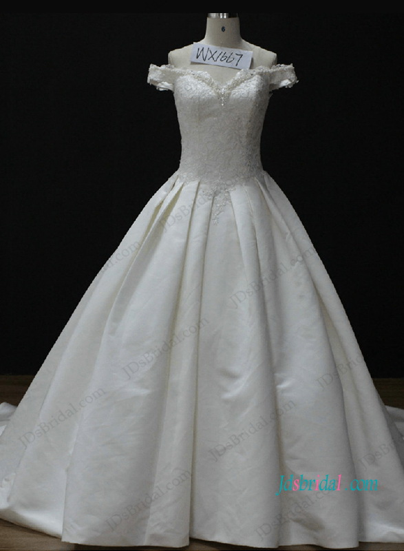 H1052 Off the shoulder Cinderella princess wedding ball gown dress