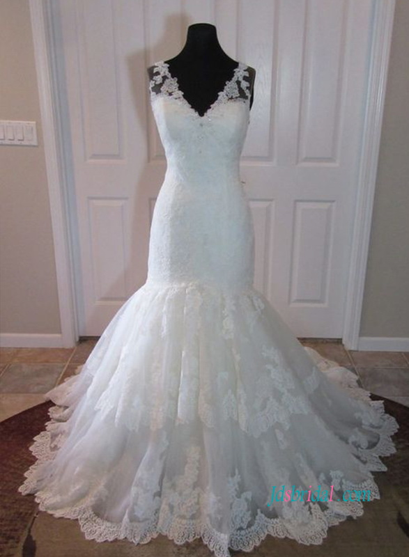 H1054 Stunning v neck lace mermaid wedding bridal dress