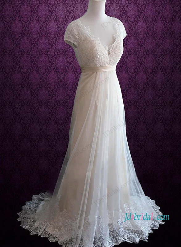 H1056 Vintage short sleeves lace a line destination wedding dress