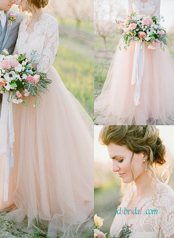 H1058 Romance Blush Color Lace Bolero Separates Wedding Dresses